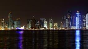 多哈卡塔尔 夜地平线 免版税图库摄影