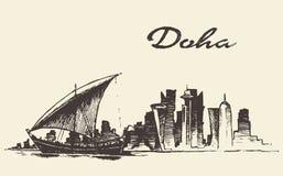 多哈地平线单桅三角帆船卡塔尔传染媒介手拉的剪影 库存例证