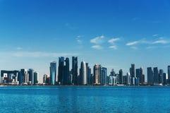 多哈市中心(卡塔尔)的看法 免版税库存图片