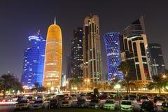 多哈街市在晚上,卡塔尔 免版税图库摄影