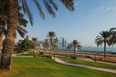 多哈,卡塔尔:消遣公园是普遍的在首都 免版税图库摄影