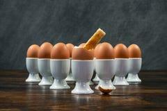 多士战士被浸洗入在蛋杯的熟蛋在表上 免版税库存图片