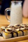 多士用巧克力香蕉 免版税库存图片