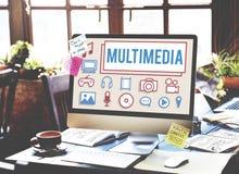 多媒体动画计算机图表数字式概念 免版税库存照片
