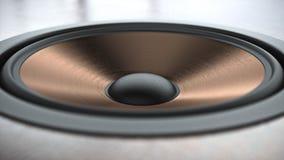 多媒体铜结束与另外报告人特写镜头的扬声器系统在黑背景3d回报 免版税库存照片