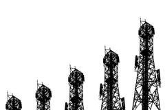 多孔的手机和communicati天线的剪影  免版税库存图片