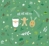 多孔黏土背景圣诞节创建了装饰以图例解释者照片 图库摄影