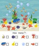多少不同的水下的海生动物 计数用不同的海洋动物的教育比赛孩子的 库存例证