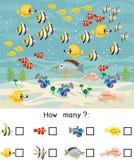 多少条不同的海水鱼 计数用不同的海洋动物的教育比赛孩子的 向量例证
