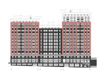 多层的大厦详细的体系结构计划与井下电机车库停车处的 传染媒介图纸 结构上作为背景是能构成使用 库存图片
