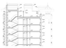 多层的大厦详细的体系结构计划  短剖面看法 传染媒介图纸 免版税库存照片