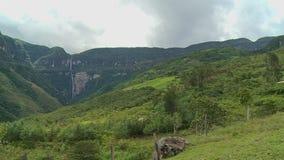 多山象草的小山和瀑布 股票录像