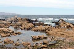 多岩石的海滩在比尼亚德尔马 免版税库存图片