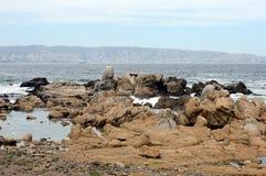 多岩石的海滩在比尼亚德尔马 免版税库存照片