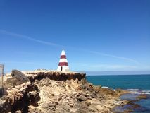 多岩石的海滩结构 免版税库存图片