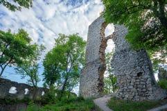 多布拉Voda城堡墙壁,斯洛伐克 库存照片