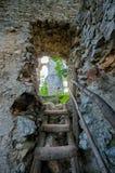 多布拉Voda,斯洛伐克石头废墟,入口 库存图片