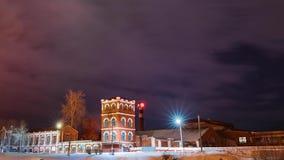 多布鲁什,戈梅利地区,白俄罗斯 时间间隔定期流逝Timelapse从晚上到老纸工厂塔夜  股票视频