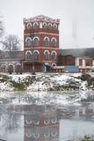 多布鲁什,白俄罗斯- 2017年12月28日:一个造纸厂的大厦 免版税图库摄影
