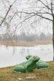 多布鲁什,白俄罗斯- 2017年12月28日:青蛙的建筑形式在湖的岸的 库存图片