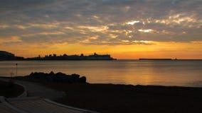 多弗东部船坞Ferryport早黎明 库存图片