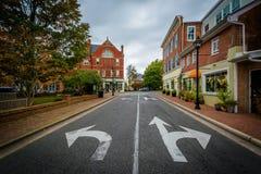 多弗和华盛顿街的交叉点,在伊斯顿, 3月 免版税库存照片