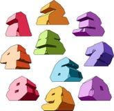 多彩多姿字母表的数字 库存例证