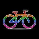 多彩多姿的传染媒介自行车或自行车象由自行车链子背景制成 皇族释放例证