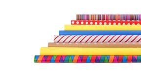 多彩多姿的包装纸劳斯在白色背景的 免版税库存图片