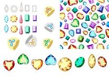 多彩多姿的宝石 套多彩多姿的宝石 与金刚石的无缝的模式 宝石的外缘 向量例证