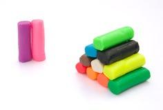 多彩多姿的彩色塑泥 库存图片