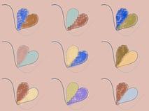 多彩多姿的得出的心脏集合 免版税库存照片