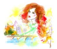 多彩多姿的抽象秋天妇女在城市 街道的时尚美丽的妇女 免版税库存图片