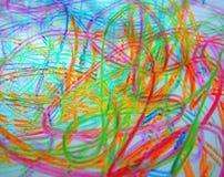 多彩多姿的毡尖的笔混乱 抽象颜色几何 免版税库存照片
