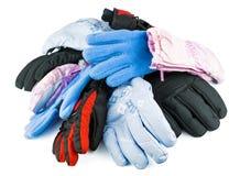 多彩多姿的混杂的滑雪手套 免版税图库摄影