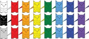 多彩多姿的猫彩虹马赛克  免版税库存照片