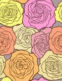 多彩多姿的玫瑰。 无缝的向量模式。 免版税库存图片