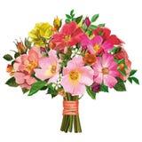 多彩多姿的玫瑰和野花花束  免版税库存照片
