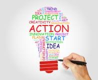 多彩多姿的电灯泡由词做成,与行动,创造性和企业概念 免版税库存图片