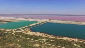 多彩多姿的盐湖风景,鸟瞰图 影视素材