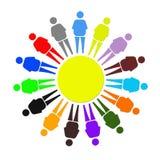 多彩多姿的矮小的人作为团结的标志 免版税库存照片
