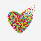 多彩多姿的糖果糖衣杏仁心脏 库存图片