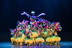 多彩多姿的羽毛孩子舞蹈 免版税库存照片