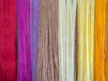 多彩多姿的自然丝绸 有机老挝人染料,Luang Phabang 图库摄影