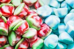 多彩多姿的被分类的软心豆粒糖背景,嚼糖果特写镜头 库存照片