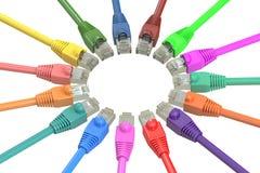 多彩多姿的计算机网络缆绳, 3D翻译 库存图片