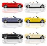 多彩多姿的3D现代汽车的汇集 向量例证