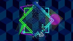 多彩形状在立方体图案背景上倒置 皇族释放例证