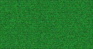 多数字在黑背景,计算机生成的无缝的圈摘要线行动的数字绿色二进制数字代码展示 皇族释放例证