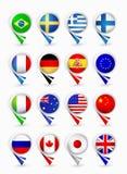 多数普遍的旗子地图尖 第1.部分 免版税库存图片